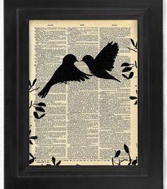 Love at First Sight, Love Birds, Set of Bird art print set, dictionary Art… Journal D'art, Book Art, Newspaper Art, Dictionary Art, Silhouette Art, Free Prints, Mixed Media Collage, Love At First Sight, Book Crafts