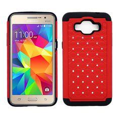 Samsung Galaxy Grand Prime SM-G530 Diamond Hybrid Rugged Case Cover Red