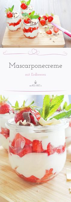 Frische Erdbeeren in einem Dessert sind herrlich, besonders schmackhaft in der Kombination mit leckerer Mascarponecreme. Strawberry Desserts, Köstliche Desserts, Dessert Recipes, Strawberry Brownies, Strawberry Jam, Brownie Recipes, Dessert Simple, Brunch Recipes, Sweet Recipes