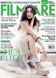 Filmfare, July 2010. Sonam Kapoor on the Magazine Cover.