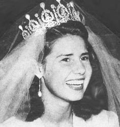 The Duchess of Alba at her first wedding wearing an amply sized pearl and diamond tiara once owned by Empress Eugenie de Montijo, wife of Napoleon III.