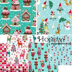 Michael Miller Christmas Holiday Collection 2013 Fabric Gnome For The Holidays Cheerful Gnomes on Light Blue