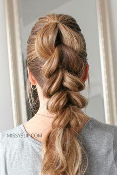 Pull Through Braid Cute Hairstyles, Braided Hairstyles, Teenage Hairstyles, Hairdos, Two Ponytails, Pull Through Braid, Braids, Braid Hair, Hair Beauty