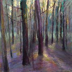 landscape pastel paintings - trees, aspens, forests, woodlands