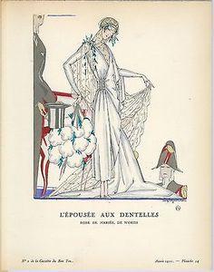 "Alex Rzewuski Gazette du Bon Ton ""L'Epousee Aux Dentelles"" in Art, Art from Dealers & Resellers, Prints | eBay"