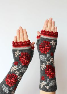 Knitted Fingerless Gloves, Roses,Grey, Red,  Gift Ideas,  Clothing And Accessories, Gloves & Mittens, For Her, Winter Accessories,