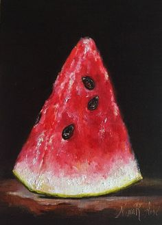 The images of paintings in this shop are copyrighted by the artist, Nina R.Aide© 2011-2017. No images may be used, copied or reproduced in any manner without the artists permission. All rights reserved.   Still Life with Watermelon Slice Crimson Sweet is my Original Oil Painting painted in chiaroscuro style on archival quality linen panel 7x5x1/8 inches. Painted from life with professional artist grade oil paints. From the serious of paintings painting like old masters. The images of the...