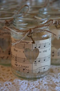 10 Small Wedding Glass Jars Vintage Sheet Music Rustic Candles Brand New