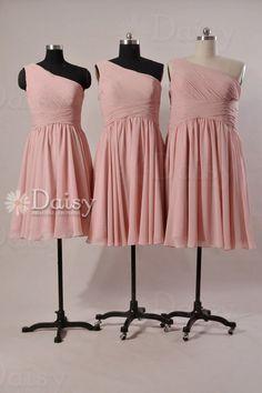 Vintage Rose Pink bridesmaid dresses,Short Pink Chiffon Dress, Dusty Rose Pink Dress,Short bridesmaid dress,Cheap Blush Pink Dress(BM032230)... $79 etsy