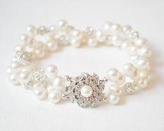 Multi Strand Bridal Bracelet | Pearl Wedding Bracelet | Bridal Jewelry | Double Strand Freshwater Pearl Bracelet (Affiliate)