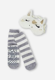 Unicorn Me Eye Mask & Sock Set. Just snatched these for my girl for Xmas with the matching pajamas!!