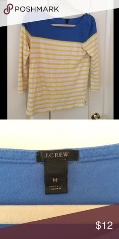 striped J Crew boatneck tee Top is a bright royal blue with citron colored stripes. Wide boat neck. Classic j crew style! J. Crew Tops Tees - Long Sleeve