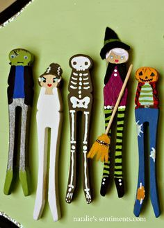 Clothespin People for Halloween, Could make these magnets!