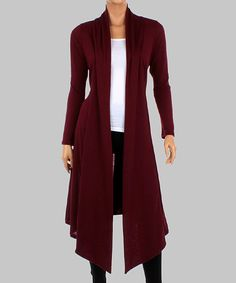 Another great find on #zulily! Burgundy Sidetail Duster - Women by California Trading Group #zulilyfinds