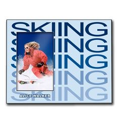 Personalized Skiing Wood Frame with Skiing Fade - Our 8in X 10in wood frame features a 4in X 6in opening to fit your photo and a customized area for your text.