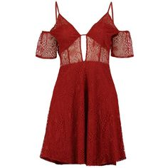 Boohoo Boutique Ally Lace Cut Out Detail Skater Dress ($40) ❤ liked on Polyvore featuring dresses, red, vestidos, maxi dresses, lace dress, bodycon dress, red skater dresses and red dress