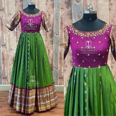 Image may contain: one or more people and people standing Half Saree Designs, Fancy Blouse Designs, Saree Blouse Designs, Long Gown Dress, Lehnga Dress, Lehenga, Long Frock, Designer Anarkali Dresses, Designer Dresses