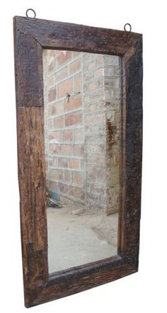 Railroad tie mirror. can't get enough of those railroad ties! Could also use old wood from a weathered barn...just loving the rustic look