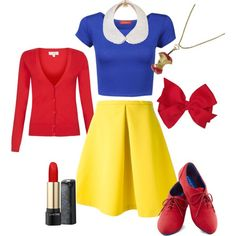 DIY Snow White Costume (apple necklace and collar) Homemade Halloween Costumes, Disney Halloween, Halloween Diy, Diy Snow White Costume, White Costumes, Costumes For Teens, Disney Costumes, Disney Dresses, Disney Outfits