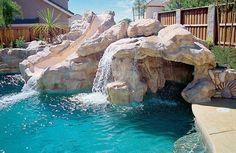 rock waterfall pool with slide pool water features backyard landscape ideas