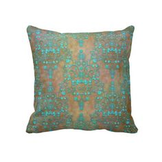 Aqua Teal over Brown Vintage Damask Design Throw Pillow