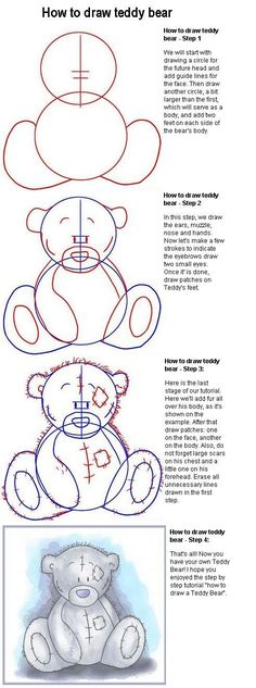 A nice, simple way to draw a cute teddy bear.