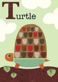 T is for Turtle. Jenn Ski Art on Etsy. Mid-century art.