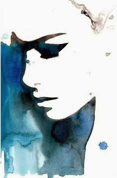 I love the use of negative space in this watercolur  artist - unknown #art #watercolour