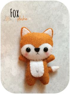 Cute Fox - Felt Plush Toy Size is approximately 2 x 4 Made with high quality eco-friendly felt. Each item is handmade: hand-stitched with love <3