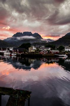 Sunset on Sørvågen by ghismary http://flic.kr/p/nS9pM6