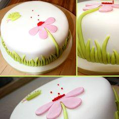 my first fondant cake Simple Fondant Cake, Fondant Cake Designs, Fondant Cakes, Cupcake Cakes, Pretty Cakes, Beautiful Cakes, Simple Cake Designs, Sugar Cake, Novelty Cakes