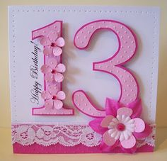 "Special Age ""13"" card using lots of different textures for a visually impaired girl.  Handmade & hand crafted. I like to make my own embellishments and a lot of my cards are cut by hand."