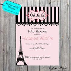 Bridal shower invitation paris eiffel tower shower invitations paris baby shower invitation girly theme invitation by yuyapaperie filmwisefo