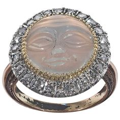 A Victorian Moonstone Cameo and Diamond Ring | From a unique collection of vintage cluster rings at http://www.1stdibs.com/jewelry/rings/cluster-rings/