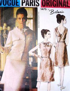 1960s BALMAIN Evening Cocktail Dress and Jacket Pattern VOGUE PARIS Original 1475 Striking Surplice V Back Dress Size 10 Vintage Sewing Pattern