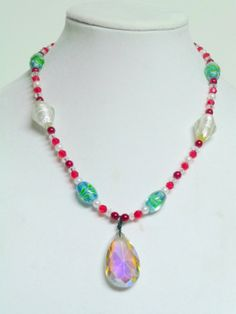 Iridescent Christmas Necklace by FiberandBeadBoutique on Etsy, $25.00