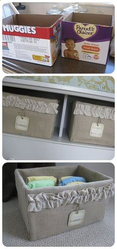 Transform an ugly cardboard box into a useful and elegant burlap storage option.