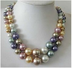 2 Row 8--14MM South Sea Multicolor shell pearl Necklace | eBay