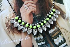rhinestone necklace fashionsquad...Obviously loving everything lime green right now!