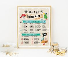 Entertain your guests with this Whats your pirate name party sign. Perfect for a pool party, birthday or any pirate themed occasion. This listing is for an INSTANT DOWNLOAD It is a printable, digital file (no physical product will be shipped) YOU RECEIVE - - - - - - - - - - - A variety of