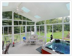 spa enclosure with glass roof panels