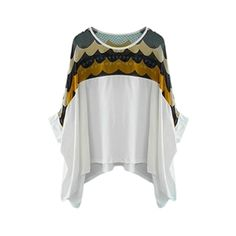 Asymmetric Wave Print Half Sleeves Loose Blouse | pariscoming