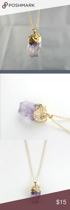 Faux gold dipped amethyst necklace See last picture for length. Boho necklace. Brand for exposure. Free People Jewelry Necklaces