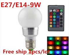 5.51$  Buy now - http://aliue2.shopchina.info/go.php?t=32281656918 - Free shiping 1pcs/lot High quality 9W RGB LED Bulb AC110V/220V E27/E14 Color Changeable RGB LED Lamp with IR remote control 5.51$ #bestbuy