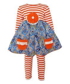 Look at this #zulilyfind! AnnLoren Blue & Orange Stripe Tunic & Leggings - Infant, Toddler & Girls by AnnLoren #zulilyfinds