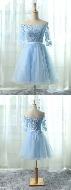 lace homecoming dresses,light blue homecoming dresses,tulle homecoming dresses,simple homecoming dresses