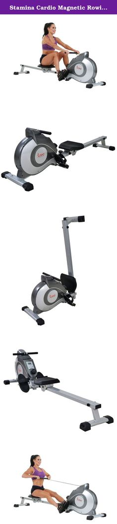 Stamina Cardio Magnetic Rowing Exercise Equipment Machines- Perfect Home Workout Fitness- Eight Level Resistance Settings Grip Right Handles Slip Proof Foot Pedal- Portable Wheels LCD Display Settings. Material: Stainless steel Color: Silver Console display type: LCD Rowers resistance type: Magnetic Product features: Grip pulse sensor Portability: Stationary Stride adjustability: Non-adjustible stride Tread cushioning: Heavy duty Weight capacity: Less than 250 pounds Dimensions: 82 inches...