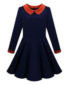 Peter-Pan-collar Pleated Woolen Dress | BlackFive