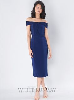 A gorgeous midi length dress by Jadore. An off shoulder style featuring crossover detailing on the bust and fitted pencil skirt with back split. Off Shoulder Fashion, Shower Dresses, Blue Bridesmaids, Strapless Dress, Cocktails, Bridal, Skirts, Crossover, Pencil