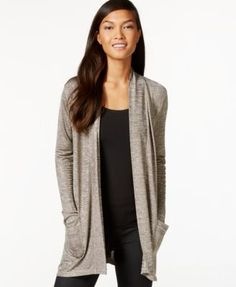 Here is a drapey long-sleeve cardigan I like. (color: pumice or anything similarly cream/oatmeal colored, size: small)